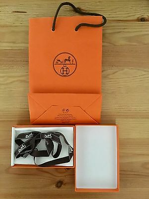 Hermes Empty Box W/ Ribbon, Storage Tissue, And Shopping Bag 3.5 X 5