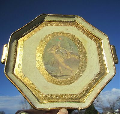 Florentine Tole Ware Italy Gold Gilt Tray Hollywood Regency Shabby Cottage Chic
