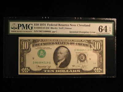 1974-$10.00-Inverted Overprint-Error Note-Type 1-Fr2022D-F-PMG-Choice-Unc-64 EPQ
