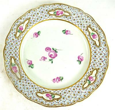 ANTIQUE PORCELAIN DESSERT PLATE PAINTED WITH ROSES CHELSEA DERBY a