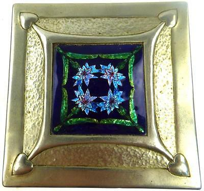 Antique Art Nouveau Arts & Crafts Pewter Casket Box Enamel & Abalone Shell