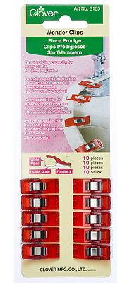 Clover Wonder Clips 10 pack - holds thick layers Quilting, Sewing, Bag-making