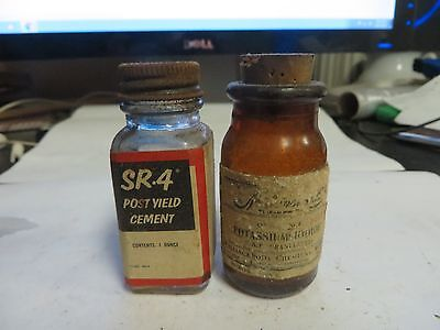 Set of 2 EMPTY SR-4 Post Yield Cement & Potassium Iodide Glass Bottles - Used