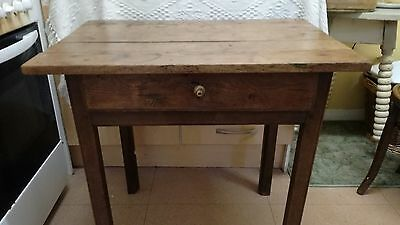 18th century Elm side table, pegged form. Plank top C 1740. Georgian, occasional