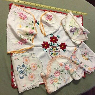 Vintage Hand Embroidered Linen Table Runners, Doilies  w/Crochet Edges LOT of 7