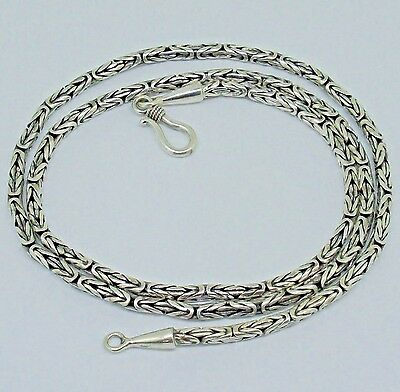 """Bali Handmade Solid Sterling Silver BYZANTINE Chain Necklace  18""""-20""""-24"""" -2.5mm"""