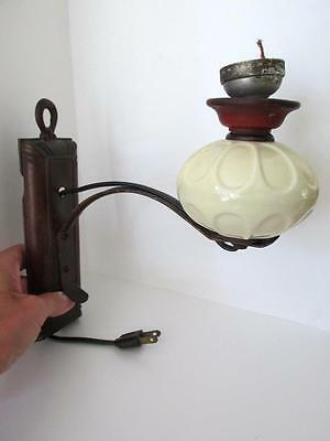 Antique ARTS & CRAFTS Cast Iron & Glass N.C. BURMAN N.Y. WALL LAMP Sconce
