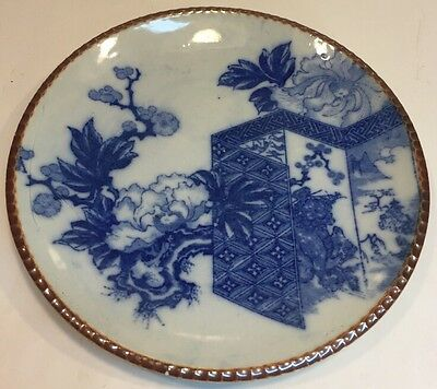 Antique 19th Century Japanese Blue & White Arita Large Porcelain Charger Plate