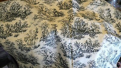Victorian French Toile Cotton Antique German Bisque  Fashion China Doll Fabric