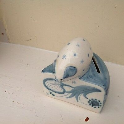 David Sharp, Rye Pottery.  Blue mouse with cheese money box with stopper