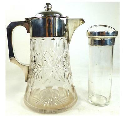 Silver Plate & Cut Glass John Grinsell & Sons Lemonade Jug Pictcher With Inset