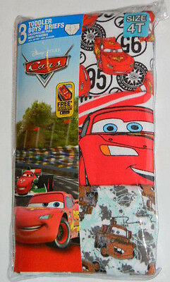 New Disney Cars Mater Lightning McQueen Toddler Boys Briefs Underwear Sz 4T