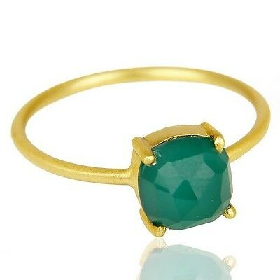 Natural Green Onyx 925 Sterling Silver 14k Gold Plated Gemstone Ring Jewelry
