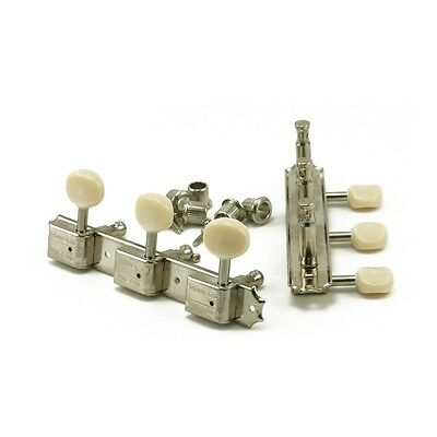 Kluson 3 On A Plate Tuners Nickel Oval Plastic Button - Double Line Kluson Stamp