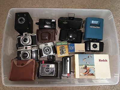 Job Lot Of Antique/Vintage Old Cameras And Accessories