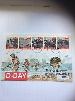 1994 First Day Cover D-Day Uncirculated 50p And Stamps