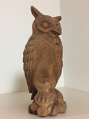 Vintage Hand Carved Wood Owl Made In The Philippines