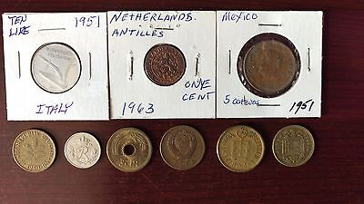 Lot of 9 Foreign Coins - Circulated