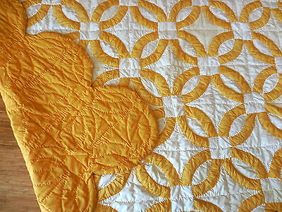 Big, Vintage, Golden, Double Wedding Ring Quilt -  Entirely Hand Stitched