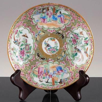 Antique Chinese Canton Porcelain Export Plate Mandarin Figures