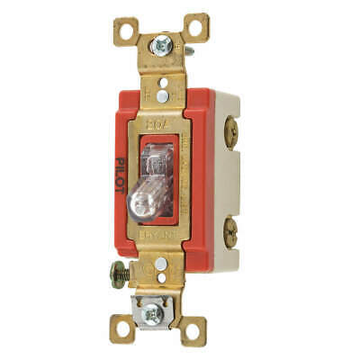 BRYANT Pilot Light Wall Switch,Clear,20A, 4901PLC120, Clear