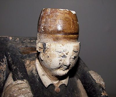 "Antique Chinese Ming Tomb Burial Pottery Figure Merchant c.1368-1644 / 10.5"" h"