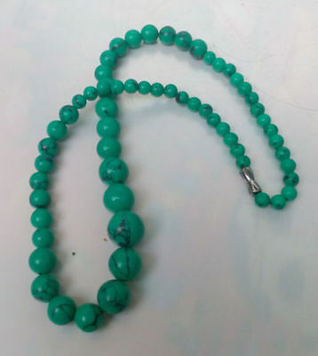 Rare Chinese natural turquoise hand-carved of necklace!Free transport