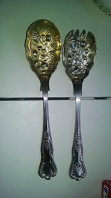Vintage W.A. SHEFFIELD Salad or Berry Serving Set Spoon Fork Silver & Gold Plate