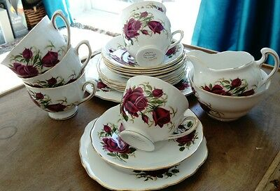Colclough 19 piece tea set in beautiful rose pattern