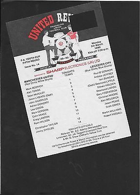 Manchester United Youth V Leicester City Youth 5-3-1990-Youth Cup