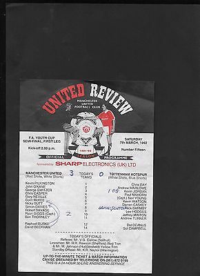 Manchester United Youth V Tottenham Hotspur Youth 7-3-1992-Youth Cup Semi
