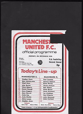 Manchester United Youth V Blackburn Rovers Youth -Youth Cup 4-12-1978