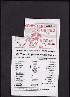 Manchester United Youth V West Bromwich Albion Youth 15-3-1976-Youth Cup