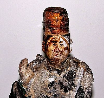 Antique Chinese Ming Tomb Burial Pottery Figure Dignitary c.1368-1644 / 10.75""