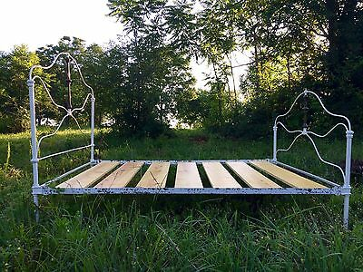 Antique Vintage Cast Iron Full Bed Frame