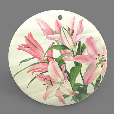 Mother of Pearl Shell Lily Flower Color Printing Pendant Necklace J1705 0432