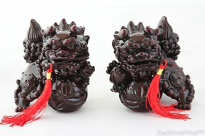 """4"""" Feng Shui Faux Red Wood Fu Foo Dog Home Protection Lions Guardians Pair Set"""
