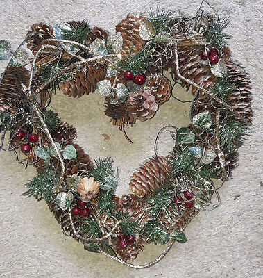 Liberty Christmas Heart Shape Wreath Berries and Cones - Gold Glitter