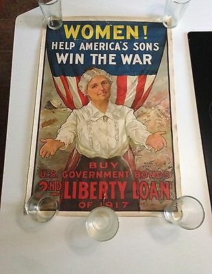 "Wwi Poster ""women Help Americas Sons Win The War"" 2Nd Liberty Loan 1917"