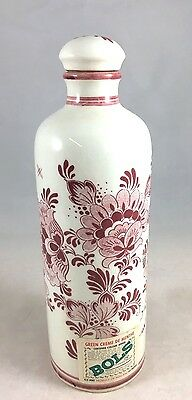 """Vintage BOLS Delft Red Decanter Collectible HOLLAND  Hand Painted pottery 8"""""""