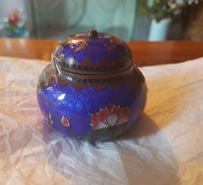 Superb 19/20thC Antique chinesr Cloisonne Enameled Floral trinket box