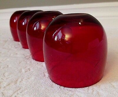 VINTAGE Anchor-Hocking; FOUR ROLY-POLY Engraved Royal-Ruby Flat-Glasses; 12-oz