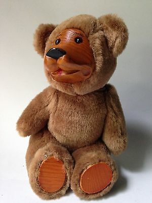 Wooden Face Teddy Bear jointed stuffed animal