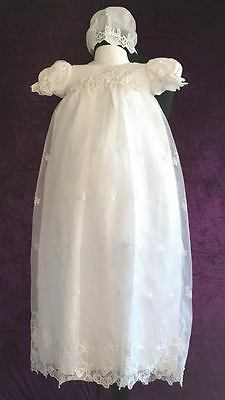 Baby Girl (0-3 month) White Christening Dress with Bonnet (Ref24)