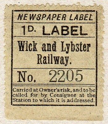 Wick and Lybster Railway Newspaper stamp (C28845)