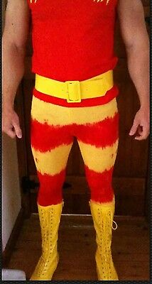 Hulk Hogan Vest And Pants Tights Fancy Dress Wrestling  Combo