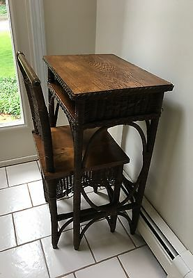 Antique Wicker Writing Desk And Chair-19th Century,Vintage Classic