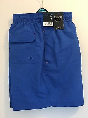 BNWT Men's Blue Quick Dry Swimming Shorts, Medium, George