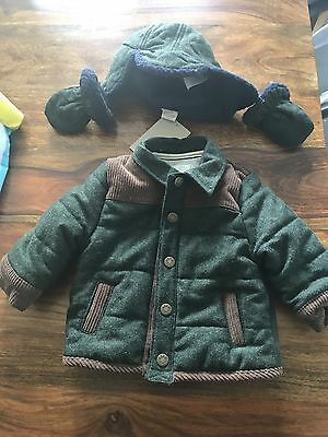 Mama And Papa Coat, Hat And Mittens 0-3 Month NWOT