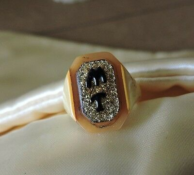 Rare Vintage Bakelite Celluloid Mourning Ring - Sweetheart - Prison Size 6 1/4